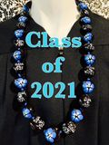 "Hawaiian Kukui Nut Graduation Lei- ""Class of 2021"" Blue Hibiscus-Custom Lei"