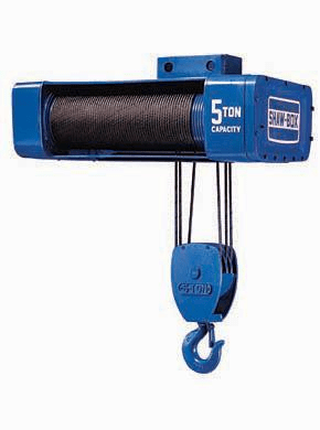1/2 Ton Shawbox 800 Electric Wire Rope Hoist, Single Reeve 25-50 Foot Lift