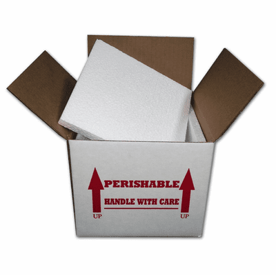 "Insulated Shipping Box 7""x7""x6"" w/ 1/2"" Foam, EA"