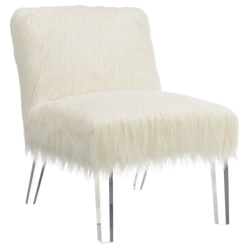 Faux Sheepskin Chair with Acrylic Legs