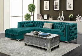 Bellaire Teal Velvet Sectional