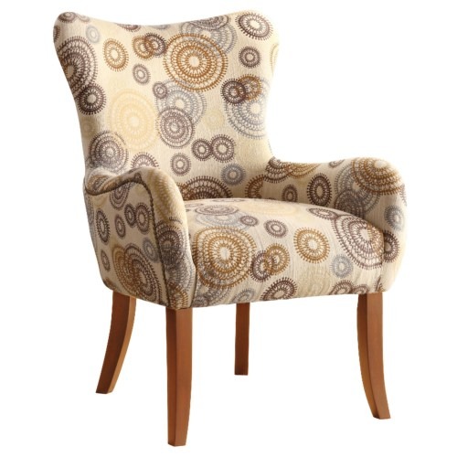 Beige Circle Accent Chair with Nailhead Trimming