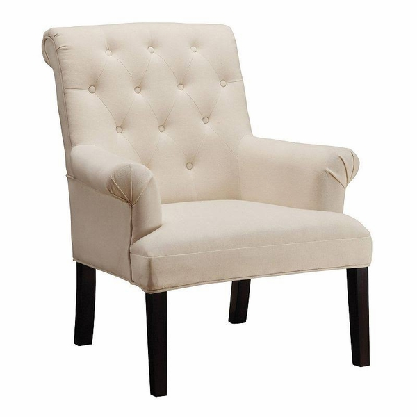 Beige Linen Button Tufted Accent Chair