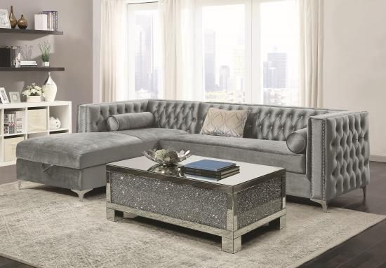 Bellaire Silver Velvet Sectional