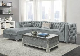 *PICK UP TODAY* Bellaire Silver Velvet Sectional