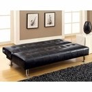 Black Faux Leather Armless Convertible Sofa Bed