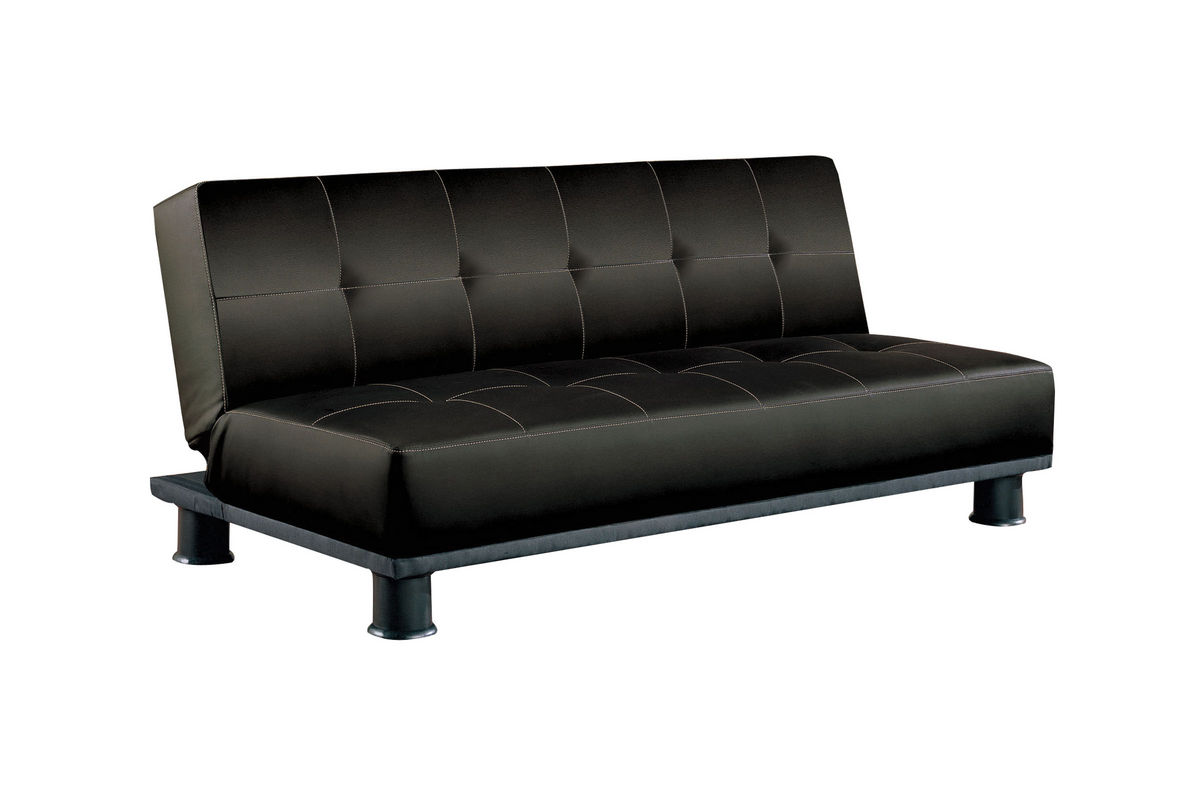Black Faux Leather Armless Convertible Sofa Bed by Coaster Furniture ...