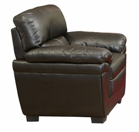 Black Leather-Like Upholsterd Double Pillow Arm Chair