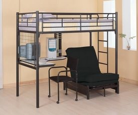Black Metal Twin Loft Bunk Bed with Futon Chair & Desk