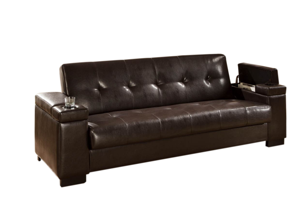 Brown Faux Leather Convertible Sofa Sleeper with Storage by Coaster ...