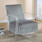Grey Velvet Modern Accent Chair