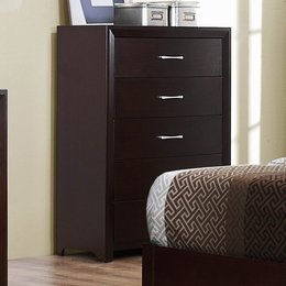 Cappuccino Brown Finish Five Drawer Chest of Drawers