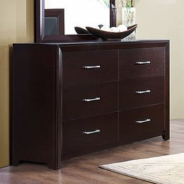Cappuccino Brown Finish Six Drawer Dresser