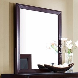 Cappuccino Brown Finish Square Dresser Mirror