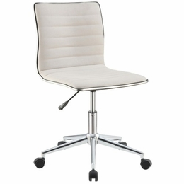 White Sleek Office Chair with Chrome Base