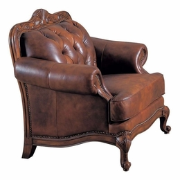 Crafted Tri-Toned Color Rolled Arm Leather Chair
