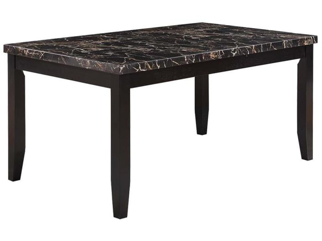 Dark cappuccino finish dining table with black faux stone top by coaster furniture 102791 dallas fort worth