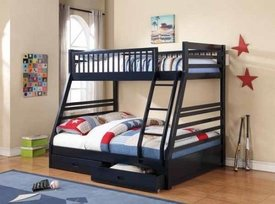 Ashton Navy Blue Twin Over Full Bunk Bed