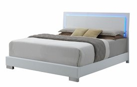 Felicity Modern White LED Queen Bed