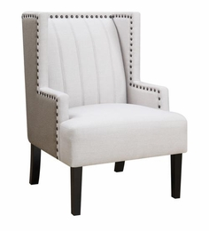Two Toned Wing Accent Chair with Nailhead Trim