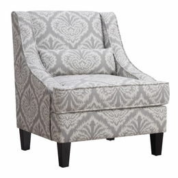 Grey and White Accent Chair with Sloped Arms