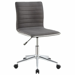Grey Sleek Office Chair with Chrome Base