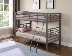 Silver Metal Frame Twin Bunk Bed with Ladder