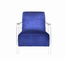 Blue Velvet Modern Accent Chair