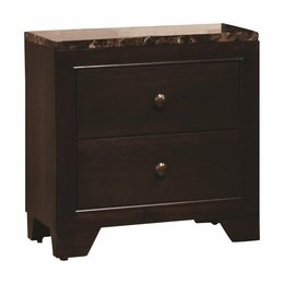 Walnut Finish Faux Marble Top Nightstand