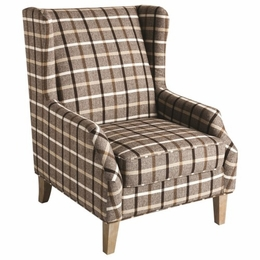 Scott Living Upholstered Wingback Chair with Plaid Design