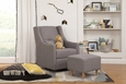 Toco Swivel Glider and Ottoman: Grey Tweed