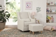 Toco Swivel Glider and Ottoman: White Linen
