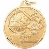 1 1/4 INCH GLOBE WITH LAMP AND BOOKS, HONOR ROLL STAMPED