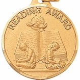 1 1/4 INCH READING AWARD MEDAL - MULTIPLE COLORS