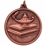 2 INCH LAMP OF LEARNING WITH BOOKS MEDAL, BRONZE