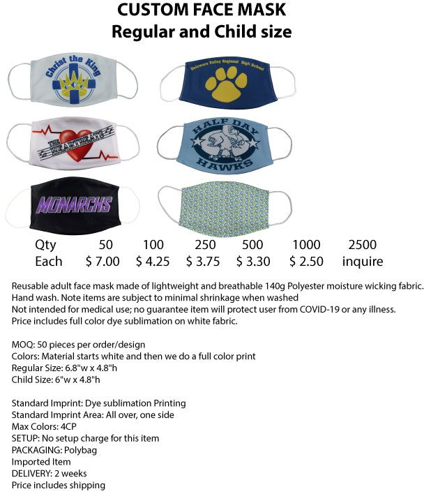 Custom Face Mask- Regular and Child Size