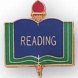 READING PIN ENAMELED, GOLD