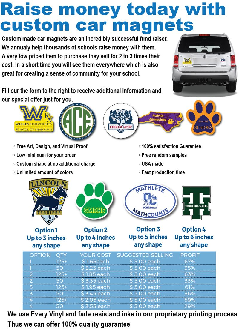 School Fundraising Car Magnets