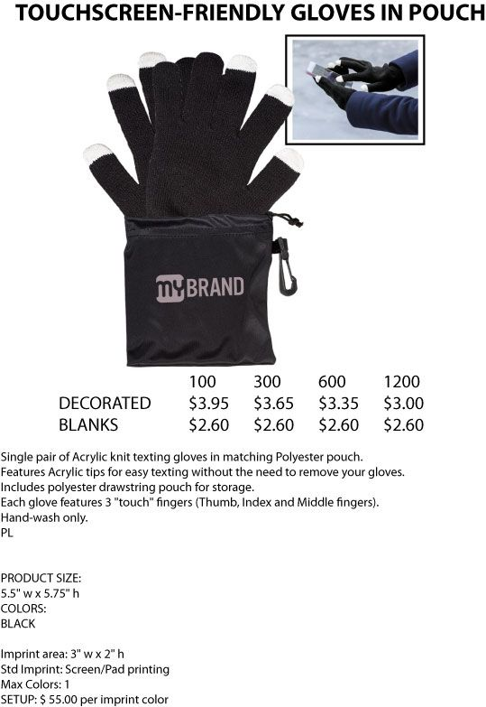 Touchscreen Friendly Gloves in Pouch