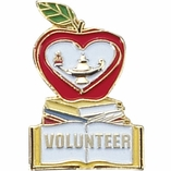 VOLUNTEER APPLE & BOOK PIN