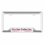 WHITE MOLDED PLASTIC LICENSE PLATE FRAME
