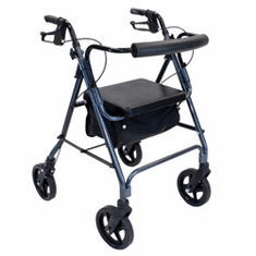 "Deluxe Aluminum Rollator with 8"" wheels & Padded seat"