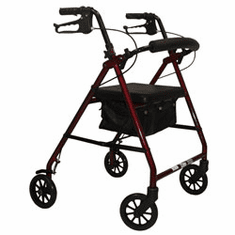 Steel Rollator with 6 inch wheels and Padded Seat