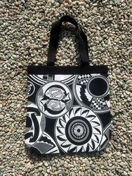 Tewa Tees Mimbres Cotton Tote - Black with White Ink