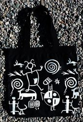 Tewa Tees Petroglyph Wrap Cotton Tote - Black with White Ink