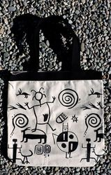 Tewa Tees Petroglyph Wrap Cotton Tote - Natural with Black Ink