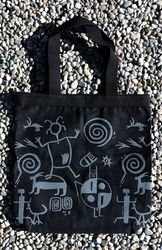 Tewa Tees Petroglyph Wrap Cotton Tote - Black with Grey Ink
