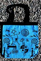 Tewa Tees Petroglyph Wrap Cotton Tote - Turquoise with Black Ink