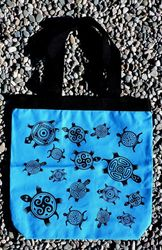 Tewa Tees Turle Wrap Cotton Tote - Turquoise with Black Ink