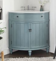 "24 inch Bathroom Vanity for Corner Cottage Beach Style Light Blue Color (24""Dx24""Dx34.5""H) CHGD47544BU"